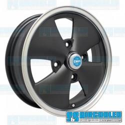 Wheel, 4-Spoke, 15x5.5, 4x130 Pattern, Black w/Polished Lip