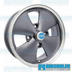 Wheel, 4-Spoke, 15x5.5, 4x130 Pattern, Anthracite w/Polished Lip