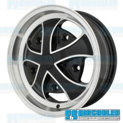 Wheel, Rebel, 15x5.5, 5x205 Pattern, Gloss Black w/Polished Spokes & Lip, EMPI