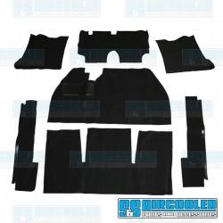 Carpet Kit, 7-Piece w/Footrest, Black, EMPI